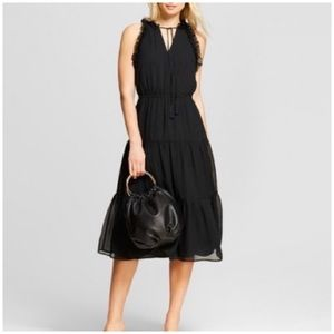 WHO WHAT WEAR BLACK RUFFLE DRESS MEDIUM